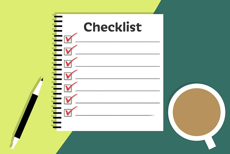 Illustration of checklist in notebook with pen and coffee.
