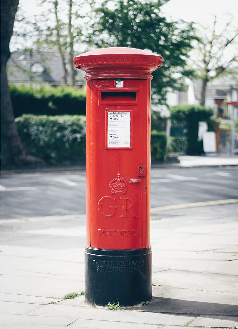 Red and black GR post office letter container