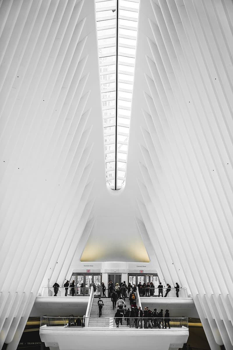 Low-angle photography of people on staircase