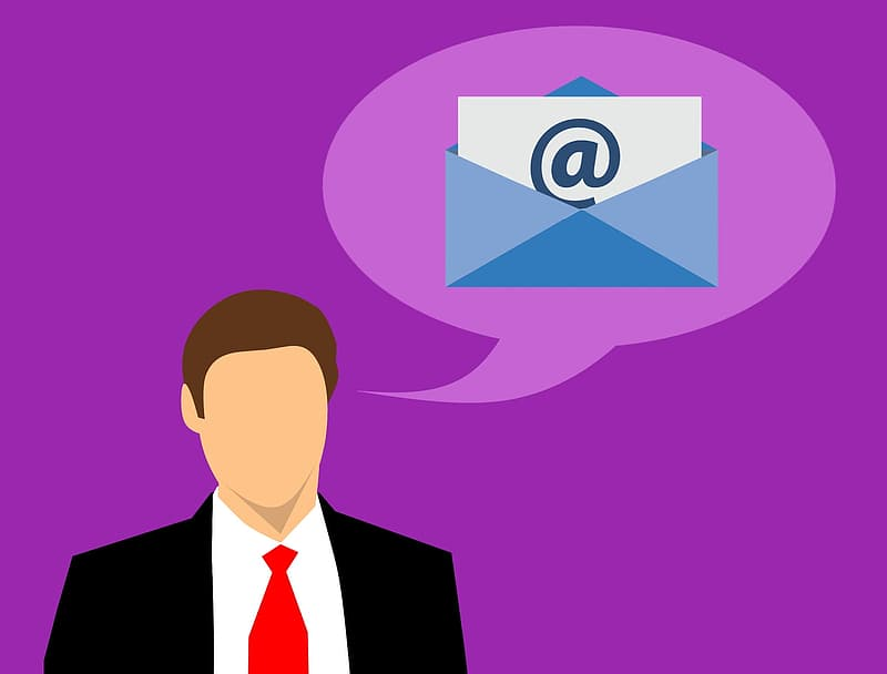 Illustration of businessman pondering email marketing questions.