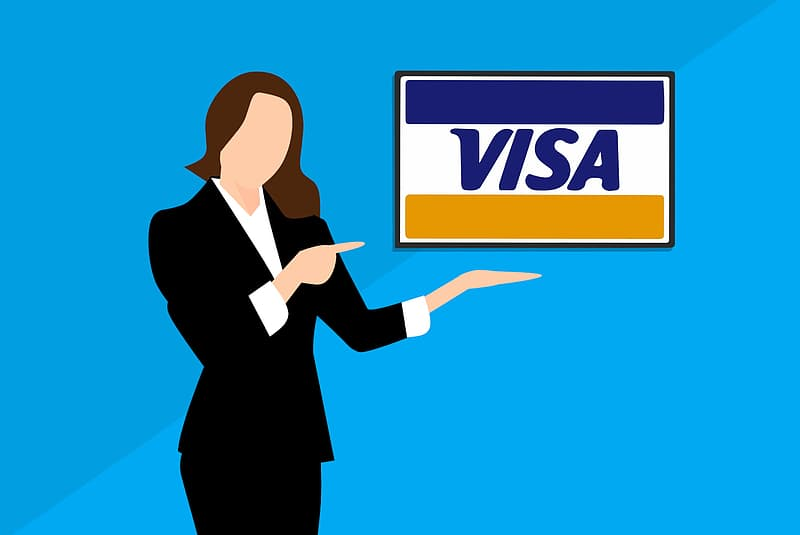 Illustration of woman with credit card.
