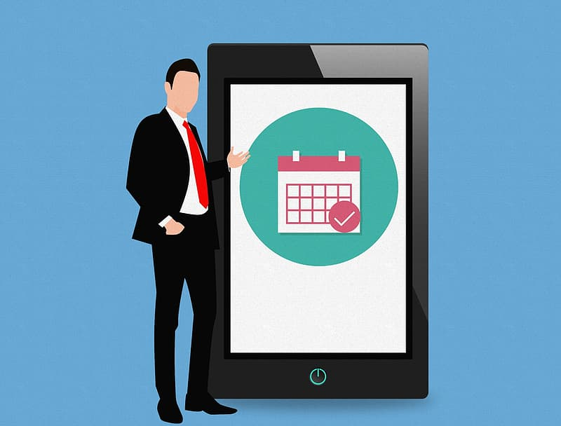 Calendar app on mobile tablet, with standing businessman illustration.