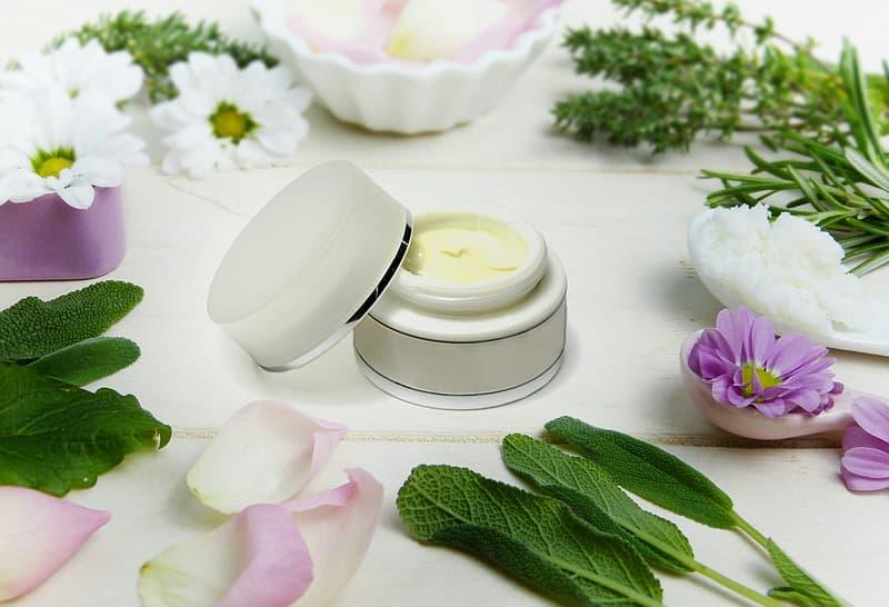 Cream with botanical ingredients surrounding the jar.