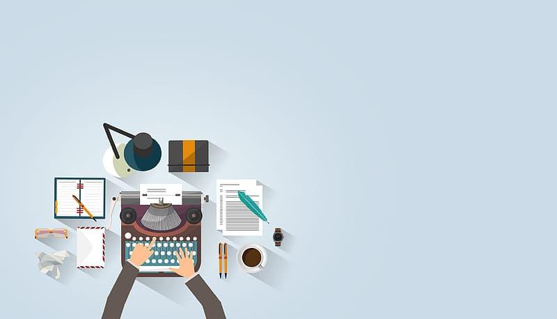Writer Typing - Typewriter - Work Desk - Author - With Copyspace
