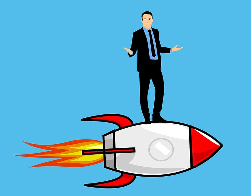Man standing on a rocket holding a flag after great achievement.