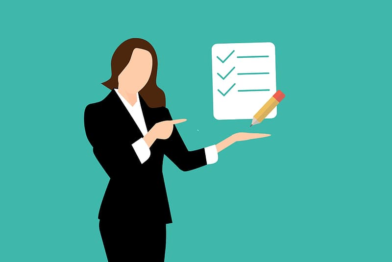 Illustration of woman with checklist.