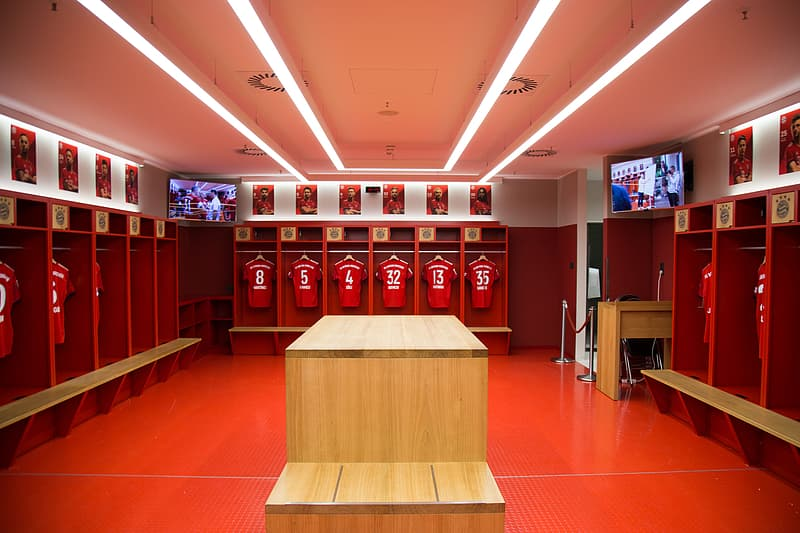 Red wooden players locker