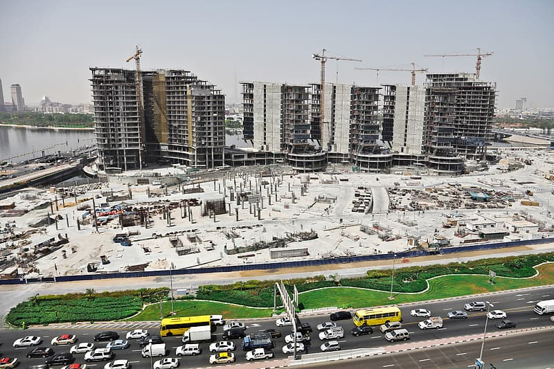 View Of Under Construction Building Site In Dubai